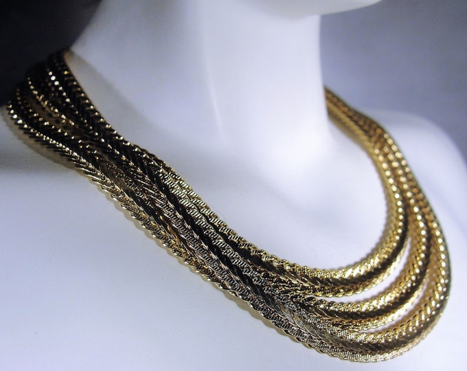 Reserved for Dounia: Beautiful MONET Chain Necklace, Flat Serpentine Necklace, Gold Plated Chain Necklace, Vintage Necklace, 32 Inches Long