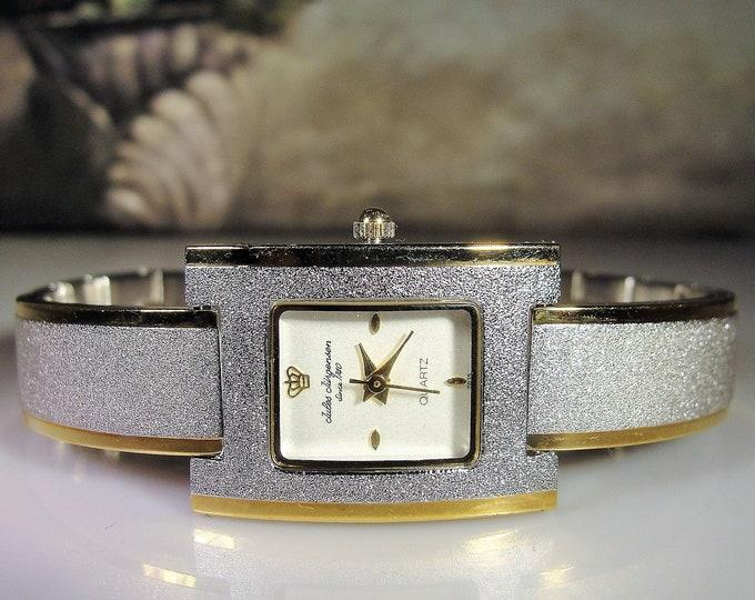 Vintage JULES JURGENSEN Women's Sparkly Brushed Silver Finish with Gold Trim Wrist Watch, Fashion Watch, Quartz Watch, Vintage Watch