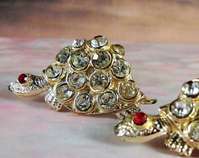 Turtle Pins, Rhinestone Pins, Rhinestone Scatter Pins, Turtle Scatter Pins, Rhinestone Turtles, Midcentury Pins, Turtles, Gold Washed Metal