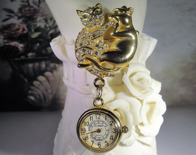Pendant Watch, Vintage Rhinestone Cat Brooch with a Dangling Pendant Watch or Clock