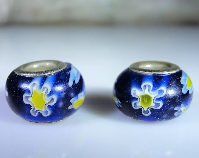 Bracelet Bead Charm, Hand Painted Blue Murano Glass Sterling Silver Bead Bangle Charm