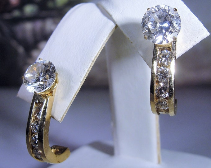 "14K Yellow Gold Channel Set Diamond Earring Enhancers, ""J"" Shaped Enhancers, Genuine Full Cut Diamonds, .50 CTW, Vintage Earring Enhancers"