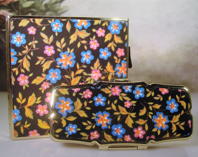 Mirror Compact Set, Vintage Double Mirror Compact and Pill Box Vanity Set