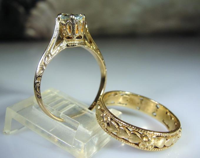 Bridal Ring Set, Antique Victorian 14K & 10K Aquamarine Ring Set, Aquamarine Engagement Ring, Heart Wedding Band, Size 5.5, FREE SIZING!