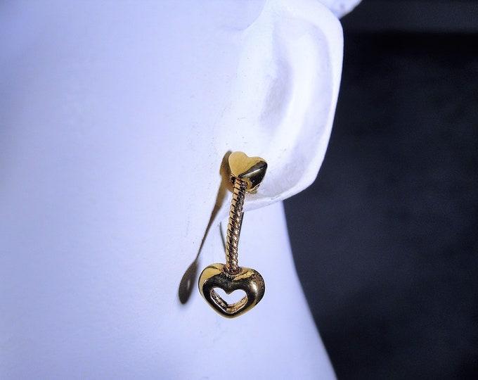 Petite Dangle Heart Earrings… So Cute!  Hypoallergenic Pierced Earrings, Push Back Closures, Valentine's Day, Minimalist, Vintage Earrings