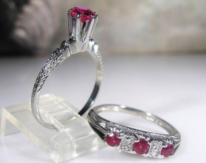 18K & 14K White Gold Art Deco Ruby and Diamond Bridal Ring Set, Engagement Ring, Wedding Band, Vintage Wedding Rings, Size 6.5, FREE SIZING