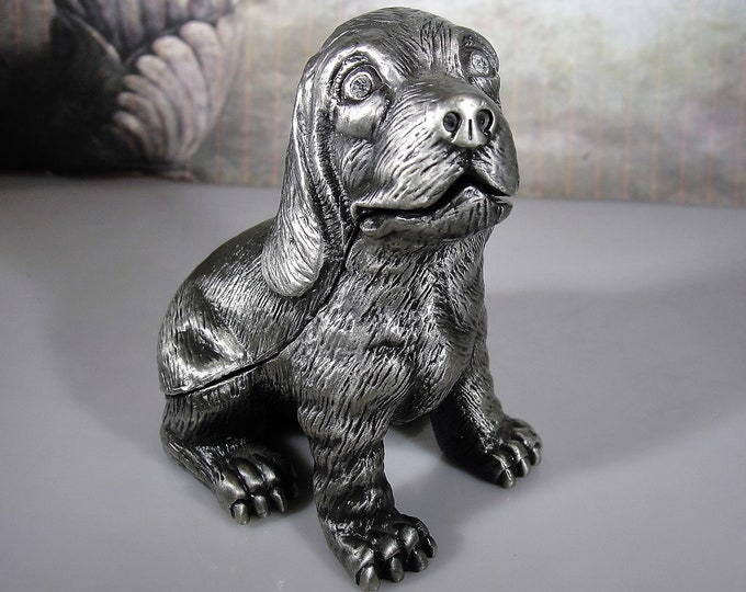 Finished Pewter Puppy Dog Trinket Box, Hinged Trinket Box with Magnetic Closure, Silver Tone Trinket Box, Vintage Trinket Box