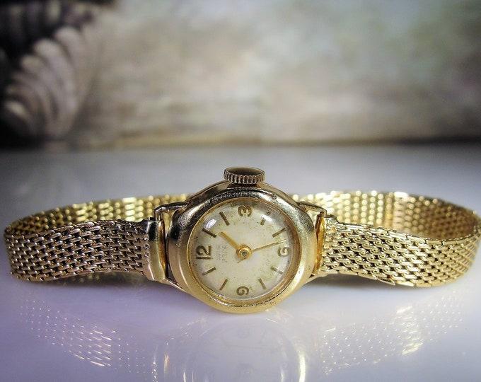 Women's Wrist Watch, Vintage BERG PARAT 14K Yellow Gold Mechanical Wrist Watch with Gold Mesh Band