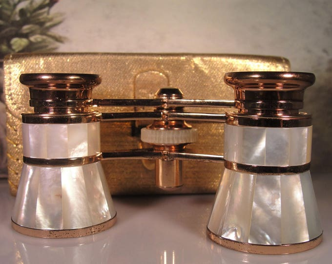 Opera Glasses, MIGNON Rose Gold Mother of Pearl Opera Glasses, Vintage Opera Glasses – Collectible