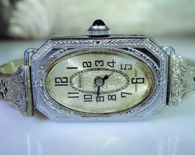 1920s BENRUS Women's Wrist Watch, 14K White Gold Supported Metal, 15 Jewels, Analog Mechanical Watch, Antique Watch, Vintage Watch