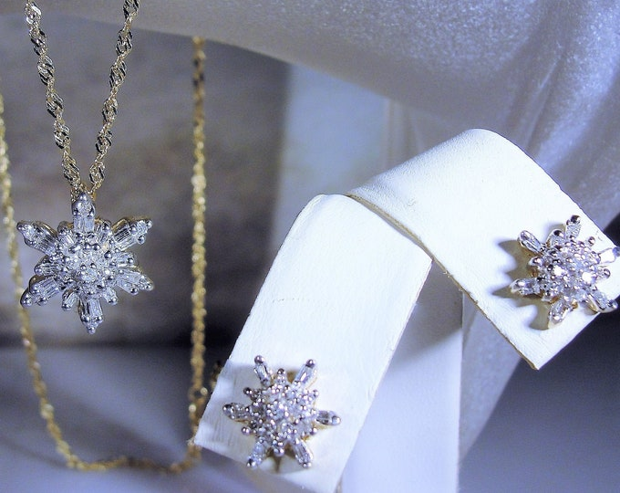 14K Gold Genuine Diamond Star or Snowflake Necklace and Earrings Jewelry Set, Diamond Necklace and Earrings, Vintage Jewelry Set