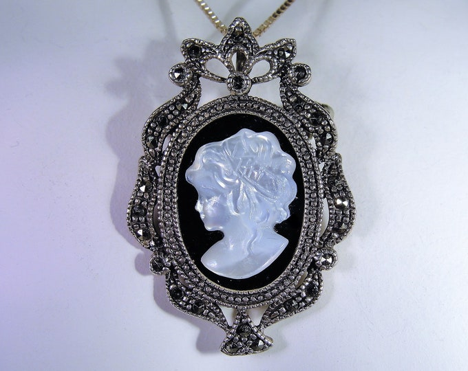 Cameo Necklace, Onyx Cameo & Marcasite Sterling Silver Necklace / Brooch Convertible, Sterling Silver Chain, Victorian Style Cameo Necklace