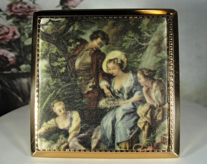 MELISSA of London Renaissance Powder Compact, Made in England, Silk Padded Transfer Print, 1950's Compact, Unused Condition, Vintage Compact