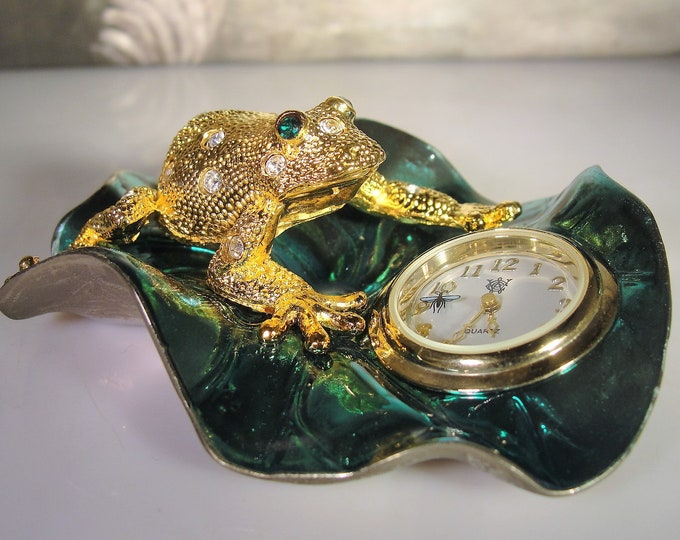 WATERBURY CLOCK Company Presented by TIMEX, Miniature Rhinestone Frog on a Lily Pad, Paperweight, Desk Clock, Collectible Miniature Clock
