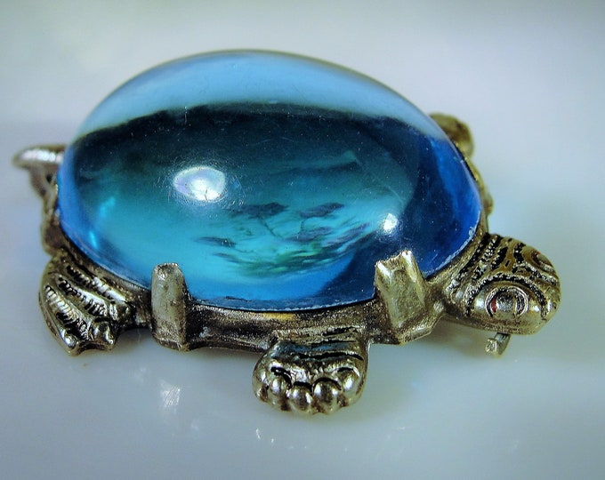 Antique Victorian Turtle Brooch, Tortoise Brooch, Silver Metal with Blue Jelly Belly Shell, C Clasp, Vintage Brooch, Antique Brooch