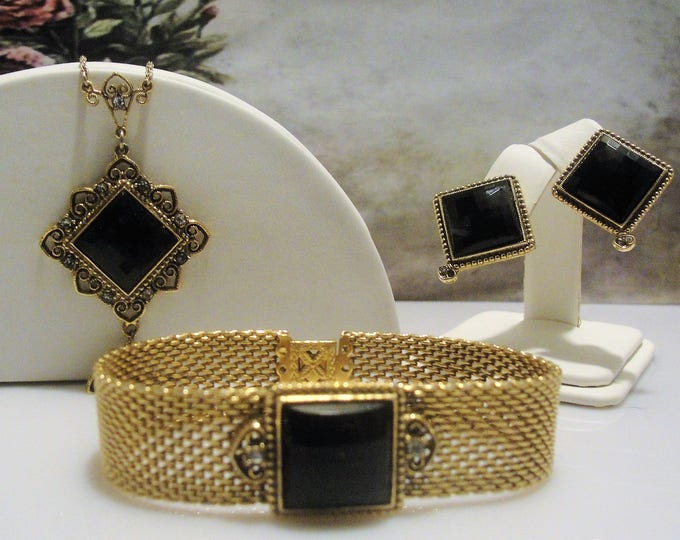 Jewelry Set, 1928 COMPANY Onyx Jewelry Set, Victorian Style Necklace Mesh Bracelet and Pierced Earrings, Vintage Jewelry Set