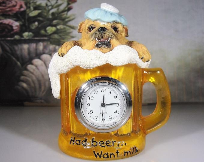 "Miniature Clock, Vintage WESTLAND Zelda Wisdom Bull Dog ""Had Beer… Want Milk"" Miniature Quartz Clock"