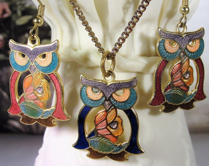 Cloisonné Owl Necklace & Earrings, Jewelry Set, Owl Pendant, Owl French Hook Earrings, Pierced Earrings, Vintage Necklace, Vintage Earrings