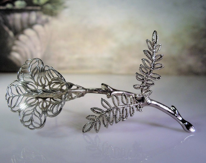 Silver Calla Lily Brooch, Beautiful Vintage Silver Calla Lily Fiigree Flower Brooch