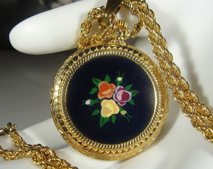 Pendant Pocket Watch, Vintage Lady Byron 17 Jewels Incabloc Mechanical Wind Up Vintage Necklace Pendant Watch