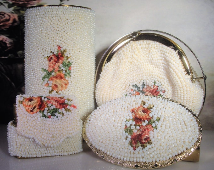 Compact Set, SCHILDKRAUT BROS, Vintage White Beaded Petite Point Compact Set, 4 Piece Set