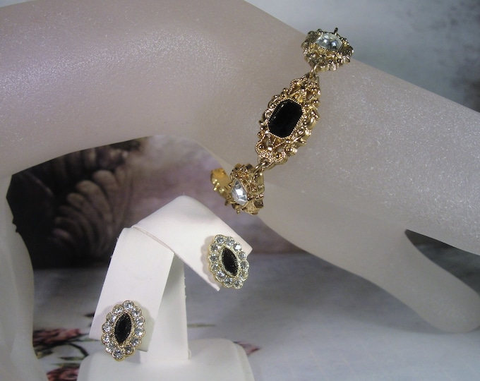 Downton Abbey Style Bracelet and Earrings Jewelry Set, 1928 COMPANY Victorian Style White and Black Bracelet and Earrings
