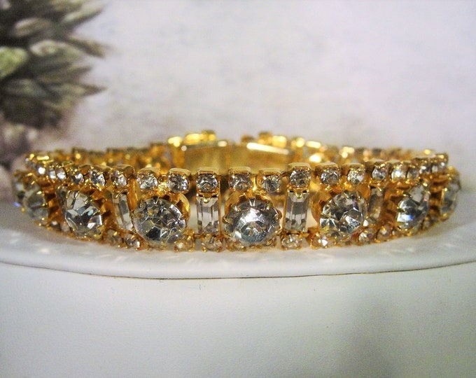 Baguette and Round Rhinestone Gold Tone Bracelet, Rhinestone Bracelet, Baguette Bracelet, Bridal Bracelet, Vintage Bracelet, Bracelet