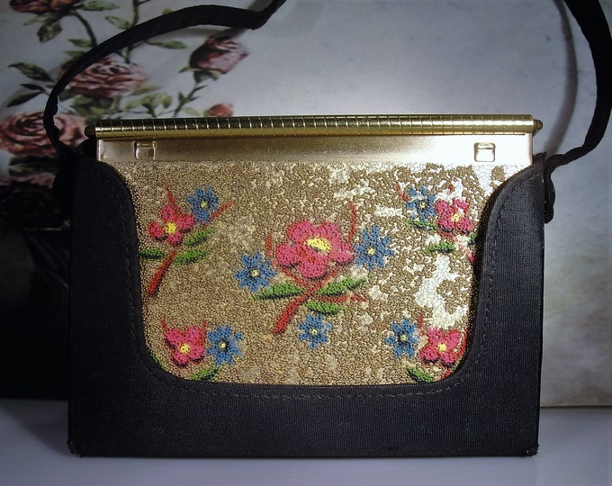 VOLUPTE Dance Purse and Compact, Vintage Minaudiere, Floral Colored Sand Motif, Powder Puff, Mirror, Carry-All, Black Purse