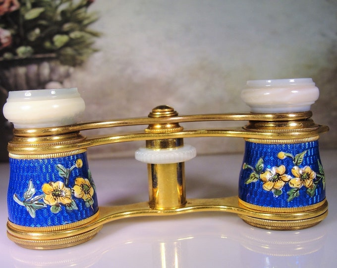 LEMAIRE Antique French Cobalt Blue Guilloche Opera Glasses with a Hand Painted Yellow Flower Motif, Vintage Opera Glasses – Collectible