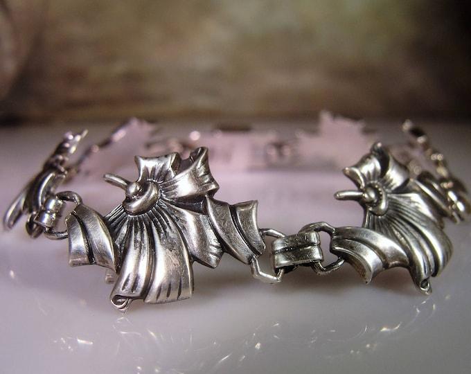 Link Bracelet, Vintage Art Nouveau Ribbon and Bow Sterling Silver Bracelet