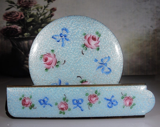 Swiss Blue Guilloche Powder Compact and Matching Comb Set, Powder Compact, Folding Comb, Pink Tea Roses and Bows, Vintage Vanity Set