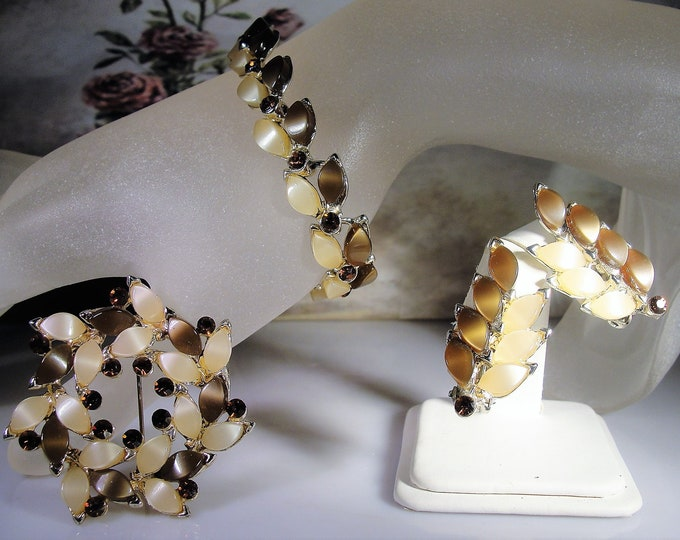 Thermoset and Rhinestone Brown and Pale Creamy Pink Jewelry Set, Bracelet, Earrings, Brooch, Root-Beer Color Jewelry, Vintage Jewelry Set