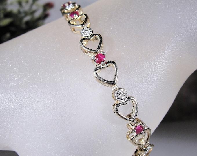 Ruby Tennis Bracelet, Gold Vermeil Heart Bracelet, Genuine Rubies and 1 Diamond, Heart Tennis Bracelet, Vintage Bracelet
