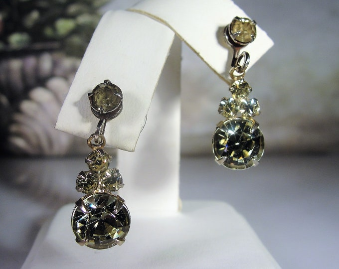 Pierced Earrings, Vintage Pale Green and Yellow Rhinestone Earrings, Gold Tone Earrings, Fashion Earrings