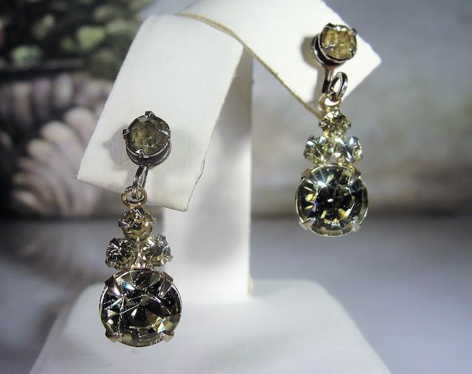 Pale Green and Yellow Rhinestone Pierced Earrings, Gold Tone Earrings, Fashion Earrings, Vintage Earrings