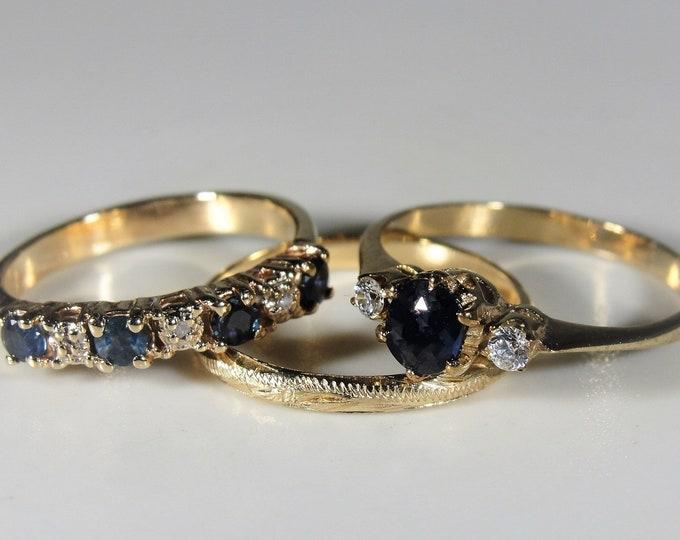 Bridal Ring Set, 14K Blue Sapphire & Diamond Stacking Bridal Ring Set, Engagement Ring, Wedding Band, Anniversary Band, Size 5, FREE SIZING!