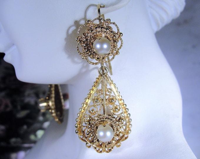 14K Yellow Gold Intricate Filigree Pearl Chandelier Earrings, Drop Dangle Earrings, Filigree Earrings, Pearl Earrings, Vintage Earrings