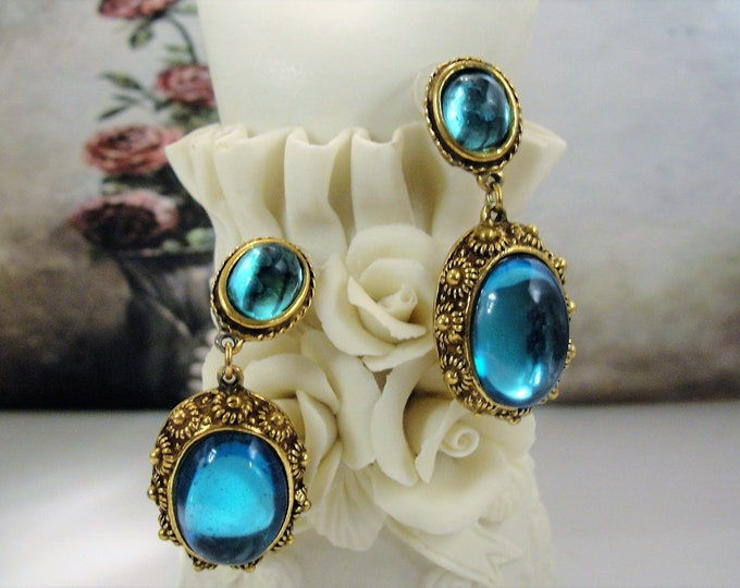 Pierced Earrings, Vintage RICHARD KERR Blue Cabochon Earrings with Hypoallergenic Posts and Push Back Closures