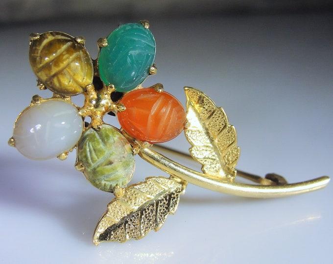 12K Gold Filled Scarab Carved Cabochon Gem Flower Brooch, Gold Filled Brooch, Flower Brooch, Scarab Brooch, Vintage Brooch