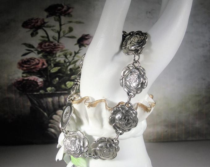 Antique Sterling Silver Bracelet, Sterling Silver Rosary Roses Link Bracelet, Hidden Religious Bracelet, Antique Bracelet, Vintage Bracelet