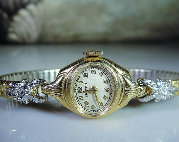 CROTON Wrist Watch, 14K Yellow Gold Mechanical Women's Wrist Watch, 2 Diamonds Accents , Gold Filled Spiedel Band, Analog Watch, Vintage