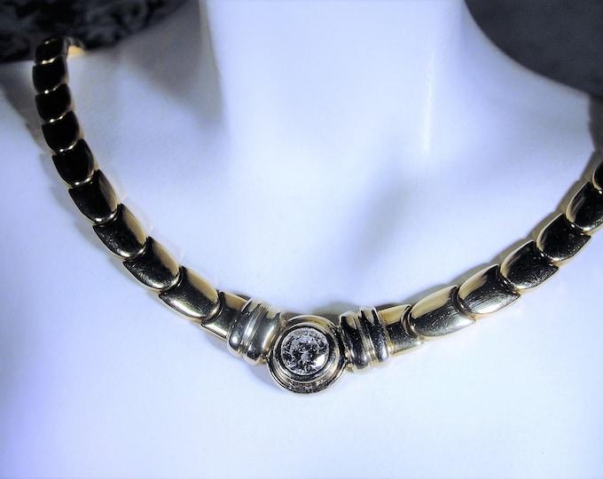 Diamond Necklace, Italian 14K Diamond Necklace, Bezel Set .75 CT Round Diamond, 14k Yellow Gold, Genuine Diamond, Vintage Necklace