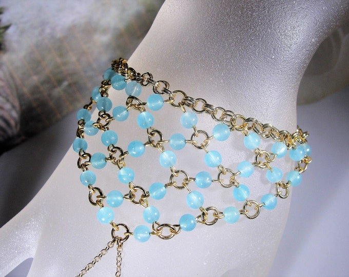 Blue Aquamarine Beaded Slave Bracelet, Gold Plated Slave Bracelet, Blue and Gold Slave Bracelet, Vintage Bracelet, 7 Inches