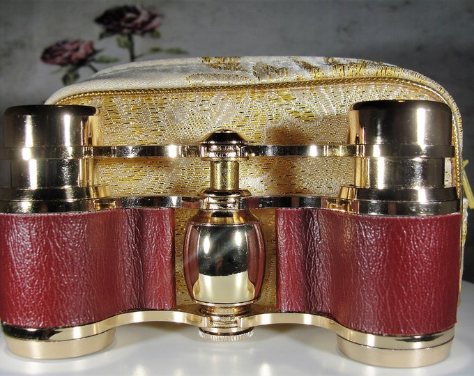 Opera Glasses, Elegant Burgundy Maroon Leatherette and Gold Opera Glasses, Achromatic Lenses 3X Magnification, Vintage Opera Glasses