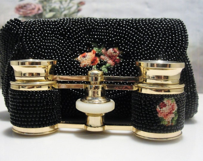 Opera Glasses, Black Micro Bead and Petite Point Opera Glasses with a Matching Purse Case, Vintage Opera Glasses - Collectible