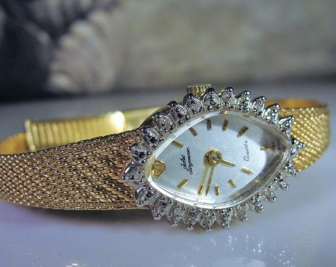 JULES JURGENSEN Women's Diamond Wrist Watch, Quartz Watch, Diamond Wrist Watch, Vintage Wrist Watch
