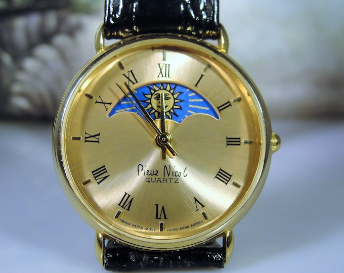 Unisex Wrist Watch, Vintage PIERRE NICOL Moon Phase Quartz Wrist Watch with Black Leather Band, Vintage Watch