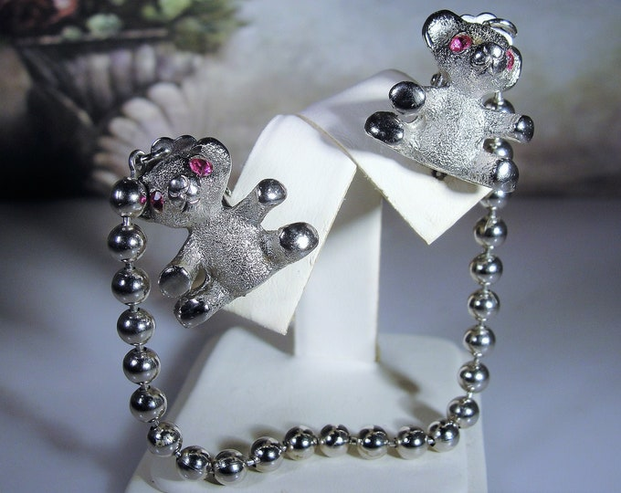 NAPIER Silver Teddy Bear Sweater Clips with Ruby Red Rhinestone Eyes, Cardigan Clips, Collar Pins, Vintage Sweater Clips