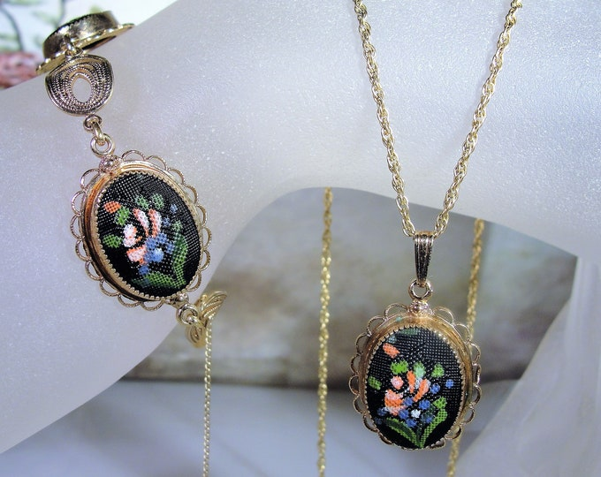 Jewelry Set, AMCO 12K & 14K Gold Filled Hand Painted Floral Necklace and Bracelet Vintage Jewelry Set