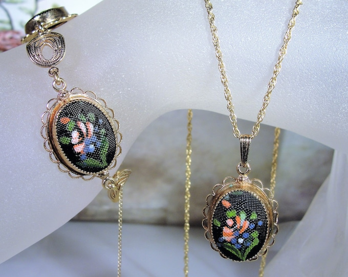 AMCO 12K & 14K Gold Filled Hand Painted Tapestry Petite Point Bracelet Necklace Jewelry Set, Floral Design, Womens Jewelry, Vintage Set